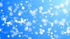 Bokeh - άσπροι κύκλοι, μπλε υπόβαθρο Στοκ Φωτογραφίες
