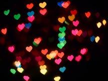 bokeh ζωηρόχρωμες καρδιές Στοκ Εικόνες