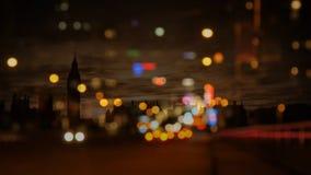 Bokeh της πολυάσχολης οδού πόλεων απόθεμα βίντεο