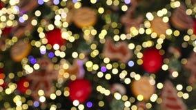 Bokeh φιαγμένο από διακοσμήσεις δέντρων Christmass απόθεμα βίντεο