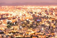 Bokeh горизонта Кейптауна от холма сигнала после захода солнца Стоковое Изображение RF