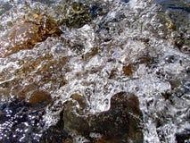 Bokeh резюмирует предпосылку преднамеренно из фокуса, или defocused падая брызг моря против голубого неба Стоковая Фотография
