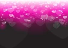 Bokeh сердца в черноте Стоковое Изображение RF