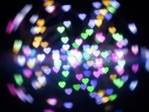 Абстрактное светлое красочное bokeh сердца стоковая фотография