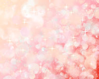 Bokeh. Bright flashes of light on the pink-red background and the stars stock illustration