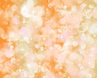 Bokeh. Bright flashes of light on an orange background and the stars stock illustration