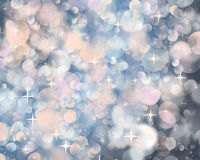Bokeh. Bright flashes of light on a dark blue background and stars royalty free illustration
