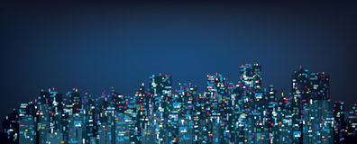 传染媒介bokeh夜城市背景 免版税库存图片