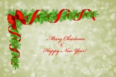圣诞节霍莉在bokeh背景,贺卡的边界装饰 免版税图库摄影