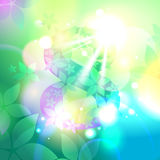 Bokeh 8 march card with fowers. Eps10 Royalty Free Stock Images