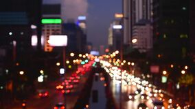 Bokeh abstract blurred background festive traffic yellow orange green red lights on road with sparkling circular animate motion 3D