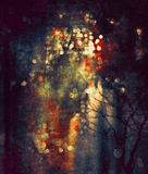 Bokeh abstract digital painting. Bokeh abstract of traffic lights of the night street,digital painting Stock Photos