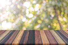 Bokeh. Abstract empty wooden with soft blurred tree, green bokeh background, in the forest. Nature bokeh background. Beautiful view select blurred all background Stock Images