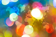 Bokeh abstracto de la luz con el mapa del mundo Foto de archivo