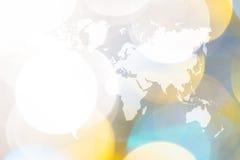 Bokeh abstracto de la luz con el mapa del mundo Imagen de archivo