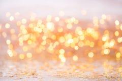 Bokeh abstracto del oro Fondo del tema de la Navidad y del Año Nuevo Imagenes de archivo
