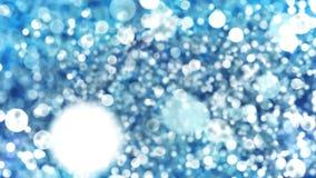 Bokeh abstrait bleu allume le fond de boucle de particules illustration de vecteur