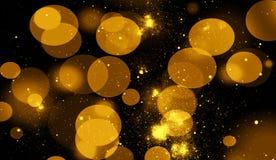 Bokeh abstrato do ouro para o fundo Os brilhos iluminam as folhas de prova da textura com fa?sca das part?culas ilustração stock