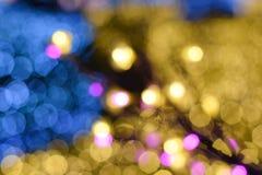 Bokeh av bakgrund för colorfullljusträd Arkivfoton