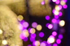 Bokeh av bakgrund för colorfullljusträd Royaltyfri Bild