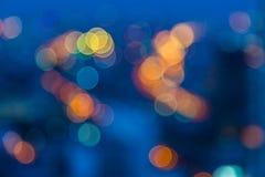 Bokeh av nattljus av Bangkok den uttryckliga vägen Fotografering för Bildbyråer