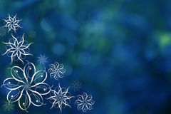 Bokeh azul com flocos Foto de Stock Royalty Free
