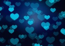 Bokeh azul del corazón Imagen de archivo