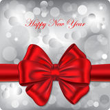 Bokeh backgound with red ribbon. Happy New Year backgound with red ribbon. Gift card. Vector illustration royalty free illustration