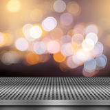 Bokeh background with empty metal deck royalty free illustration