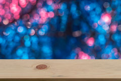 Bokeh background with empty wooden Royalty Free Stock Image