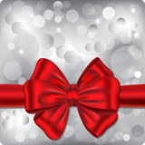 Bokeh background with red ribbon. Bokeh background with silver lights and red ribbon. Gift card. Vector illustration stock illustration