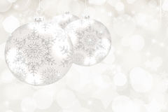 Bokeh Background with Silver Christmas Balls Stock Photography
