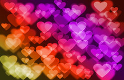 Bokeh backgrounds of hearts. Stock Photos