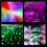 Bokeh backgrounds. Set of four backgrounds with bokeh effect isolated on black background Stock Image