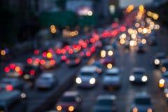Bokeh bakgrund av trafik Fotografering för Bildbyråer