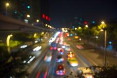 Bokeh bakgrund av trafikljus Arkivbild