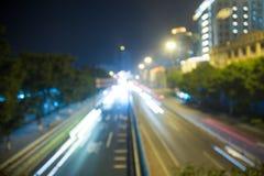 Bokeh bakgrund av trafikljus Fotografering för Bildbyråer