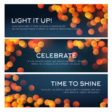 Bokeh banner of blurred golden lights, copy space. Bokeh light banner set. Golden glitter of defocused lights, blurred glow of shining stars and sparkles with royalty free illustration