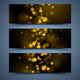 Bokeh Banners Templates. Abstract Backgrounds Stock Photo