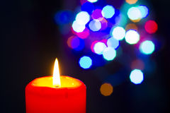 Bokeh beautiful light and fragrance candle in the darkness Royalty Free Stock Photography
