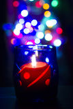 Bokeh beautiful light and fragrance candle in the darkness Stock Image