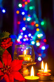 Bokeh beautiful light and fragrance candle in the darkness Royalty Free Stock Photos