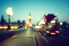 Bokeh of Big Ben and Westminster Bridge Royalty Free Stock Photos