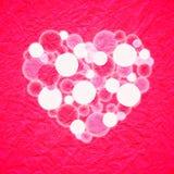 Bokeh blanco rojo del corazón que brilla intensamente Stock de ilustración
