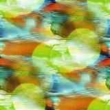 Bokeh bleu, peinture colorée verte et jaune a de texture de l'eau de modèle illustration libre de droits