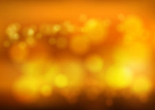 Bokeh blur romantic golden backdrop with fog effect Stock Photography