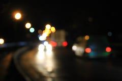 Bokeh blurred car lights at night Stock Photos