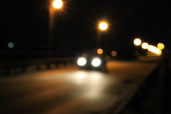 Bokeh blurred car lights at night Royalty Free Stock Photography