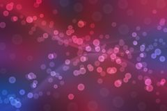 Bokeh borrado abstrato e bolhas no fundo vermelho e azul ilustração do vetor