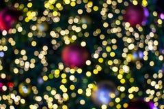 Bokeh borroso del fondo de la luz de la Navidad Decoración ascendente cercana imagen de archivo